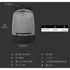 Tas Ransel Laptop Kampus dengan USB Charger Port - Gray - 5