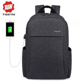 TIGERNU Tas Ransel Laptop dengan USB Charger - Black