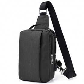 Crossbody Tas Selempang dengan USB Charger Port - Black