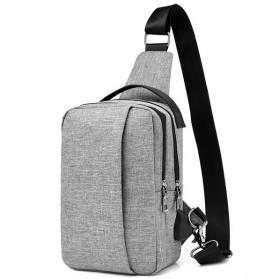 Crossbody Tas Selempang dengan USB Charger Port - Gray - 1