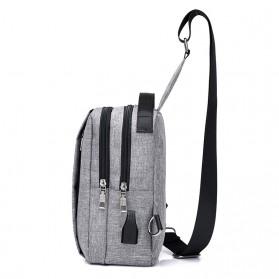 Crossbody Tas Selempang dengan USB Charger Port - Gray - 2
