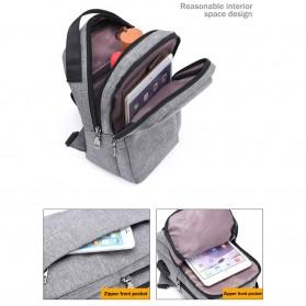Crossbody Tas Selempang dengan USB Charger Port - Gray - 9