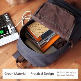 MUZEE Tas Ransel Backpack Casual dengan USB Port - ME-0710 - Black Blue - 5