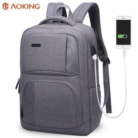 Notebook Bag / Tas Laptop - Aoking Tas Ransel Laptop dengan USB Charger - FN77177 - Gray