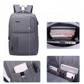 Aoking Tas Ransel Laptop dengan USB Charger - FN77177 - Gray - 3