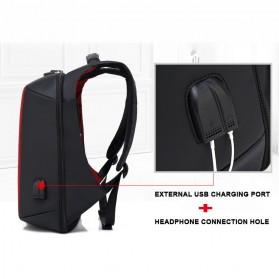 BAIBU Tas Ransel Anti Maling Coded Lock dengan USB Charger Port + AUX Port - ZL1960(false) - Gray - 4