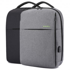 BAIBU Tas Ransel Laptop dengan USB Charger Port - 1927-40 - Black - 8