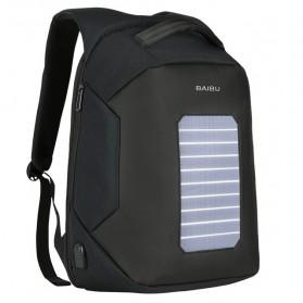 BAIBU Tas Ransel Solar Charging dengan USB Charger Port - ZL1914 - Black