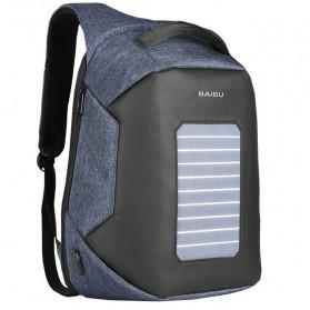 BAIBU Tas Ransel Solar Charging dengan USB Charger Port - ZL1914 - Blue