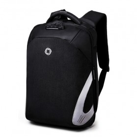 Ozuko Tas Ransel Laptop Security Lock dengan USB Charger Port - ZK899939 - Black