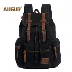 Augur Tas Ransel Canvas School Backpack - Black