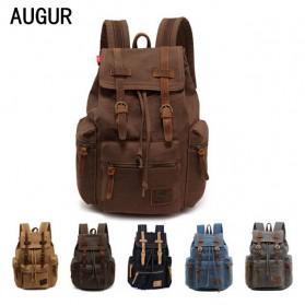 Augur Tas Ransel Canvas School Backpack - Black - 3