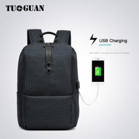 TUGUAN Tas Ransel Laptop USB Charger Port - CF-1782 - Black - 2