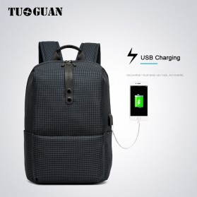 TUGUAN Tas Ransel Laptop USB Charger Port - CF-1782 - Gray - 2