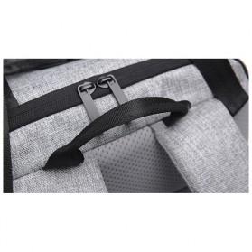 Tas Ransel Roll Top Travel Backpack dengan USB Charger Port - Dark Gray - 9