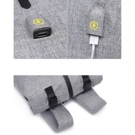 Tas Ransel Roll Top Travel Backpack dengan USB Charger Port - Dark Gray - 11