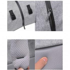 Tas Ransel Roll Top Travel Backpack dengan USB Charger Port - Dark Gray - 12
