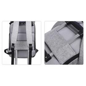 Tas Ransel Roll Top Travel Backpack dengan USB Charger Port - Light Gray - 2