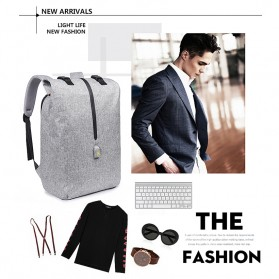 Tas Ransel Roll Top Travel Backpack dengan USB Charger Port - Light Gray - 3