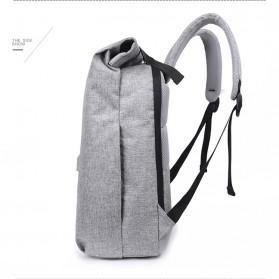 Tas Ransel Roll Top Travel Backpack dengan USB Charger Port - Light Gray - 6