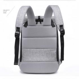 Tas Ransel Roll Top Travel Backpack dengan USB Charger Port - Light Gray - 7