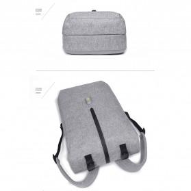 Tas Ransel Roll Top Travel Backpack dengan USB Charger Port - Light Gray - 8
