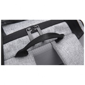 Tas Ransel Roll Top Travel Backpack dengan USB Charger Port - Light Gray - 9
