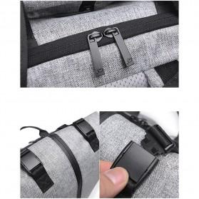 Tas Ransel Roll Top Travel Backpack dengan USB Charger Port - Light Gray - 10