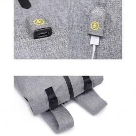 Tas Ransel Roll Top Travel Backpack dengan USB Charger Port - Light Gray - 11