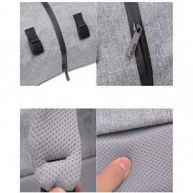Tas Ransel Roll Top Travel Backpack dengan USB Charger Port - Light Gray - 12