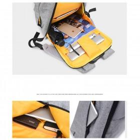 Tas Ransel Roll Top Travel Backpack dengan USB Charger Port - Light Gray - 13
