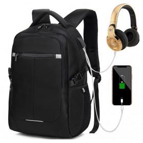 Tas Ransel Anti Maling dengan USB Charger Port - Black