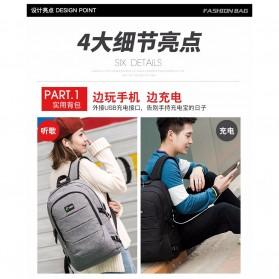 Tas Ransel Laptop Classical Design dengan USB Charger Port - Black - 4