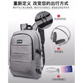 Tas Ransel Laptop Classical Design dengan USB Charger Port - Black - 10