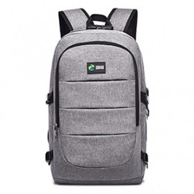 Tas Ransel Laptop Classical Design dengan USB Charger Port - Gray