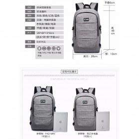 Tas Ransel Laptop Classical Design dengan USB Charger Port - Gray - 9