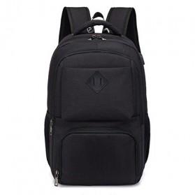Tas Ransel Laptop Sekolah dengan USB Charger Port - Black