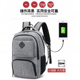 Tas Ransel Laptop Sekolah dengan USB Charger Port - Gray - 3