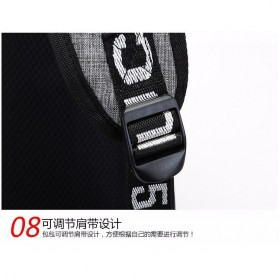 Tas Ransel Laptop Sekolah dengan USB Charger Port - Gray - 9