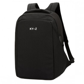 Tas Ransel Laptop Minimalist Design dengan USB Charger Port - Black