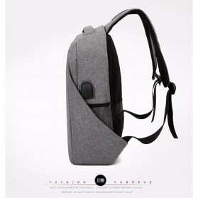 Tas Ransel Laptop Minimalist Design dengan USB Charger Port - Black - 4