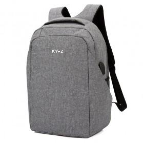 Tas Ransel Laptop Minimalist Design dengan USB Charger Port - Gray