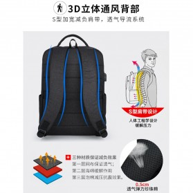 Tas Ransel Laptop Fashion Design dengan USB Charger Port - Black - 7