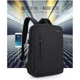 Tas Ransel Laptop Fashion Design dengan USB Charger Port - Black - 8