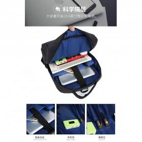 Tas Ransel Laptop Fashion Design dengan USB Charger Port - Black - 9