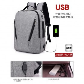 Tas Ransel Laptop Security Lock dengan USB Charger Port - MR6320 - Gray - 3