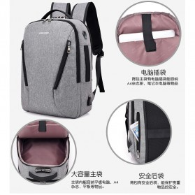 Tas Ransel Laptop Security Lock dengan USB Charger Port - MR6320 - Gray - 8