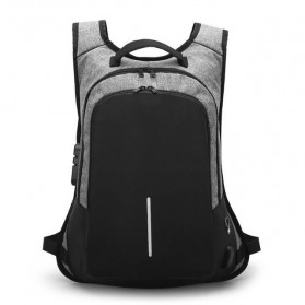 Tas Ransel Anti Maling dengan USB Port Charging & Earphone - Gray