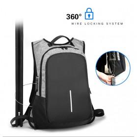 Tas Ransel Anti Maling dengan USB Port Charging & Earphone - Gray - 3