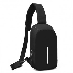 KAKA Tas Selempang Sling Bag dengan USB Charger Port - 0603 - Black